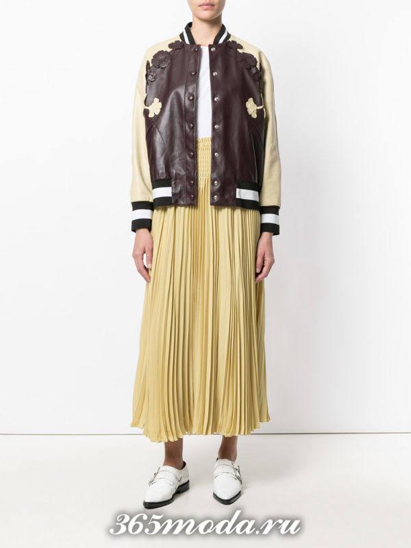 длинная юбка плиссе желтая
