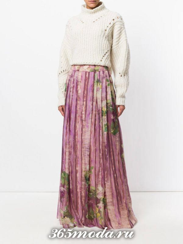 длинная юбка плиссе с рисунком
