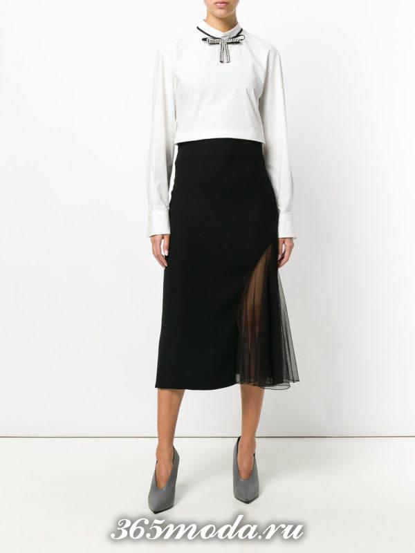 черная юбка плиссе с разрезом