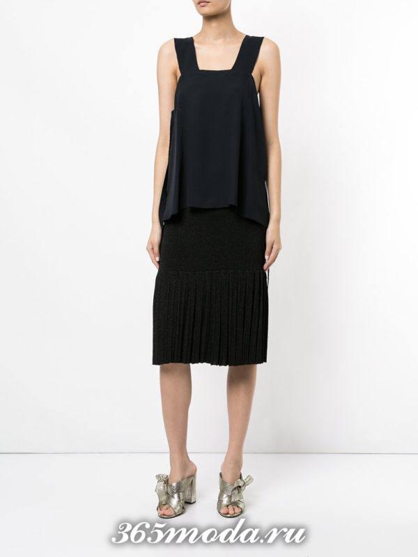 черная теплая юбка плиссе