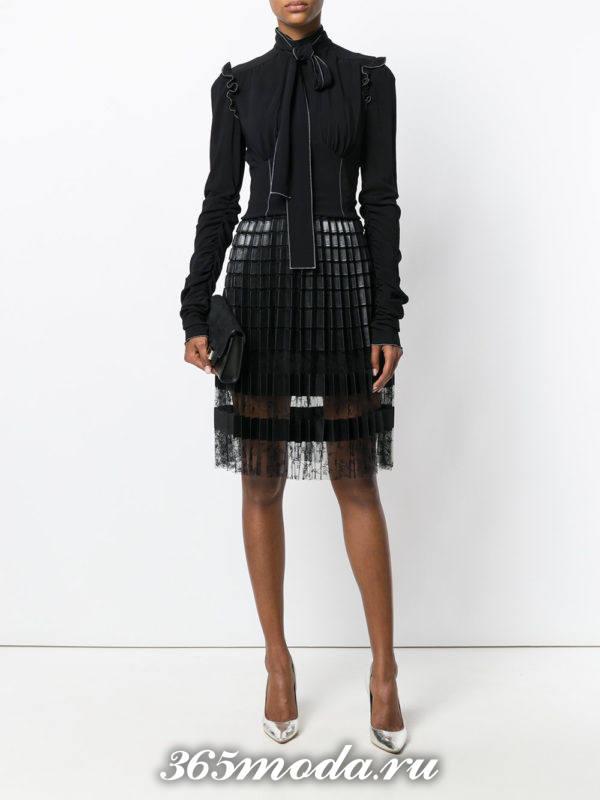 черная юбка плиссе прозрачная