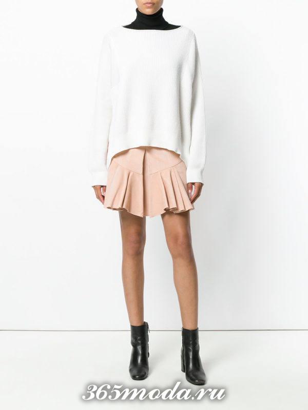 розовая мини юбка плиссе