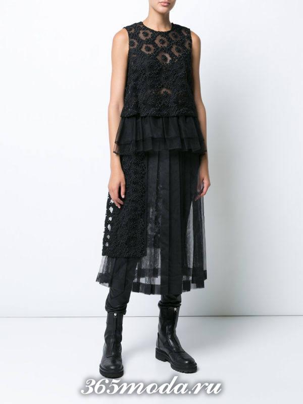 юбка плиссе миди черная прозрачная