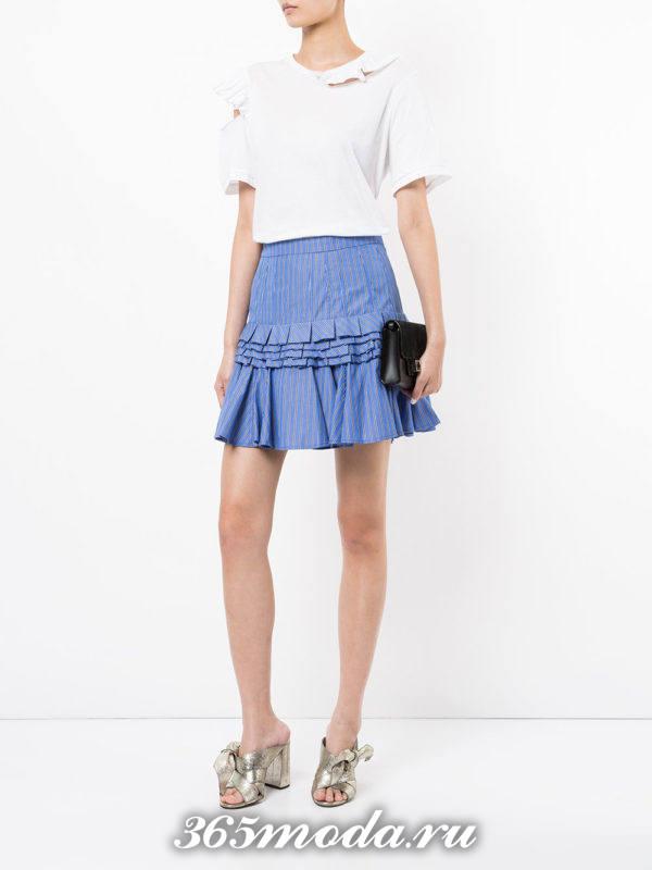 мини юбка плиссе синяя