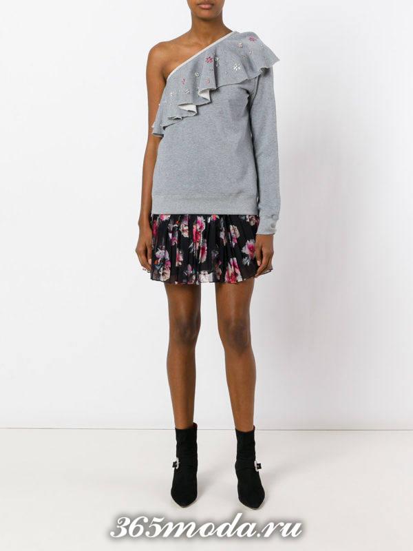 мини юбка плиссе с цветочным принтом
