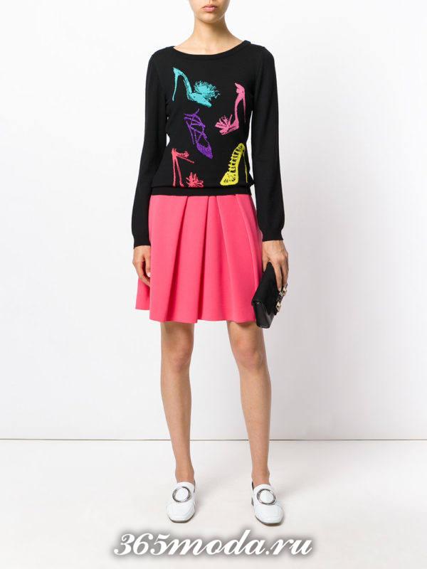 мини юбка плиссе ярко розовая