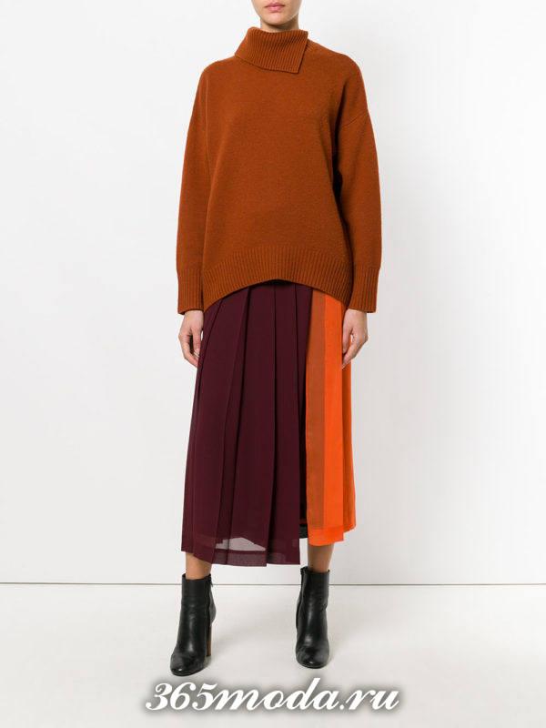 шифоновая двухцветная юбка плиссе