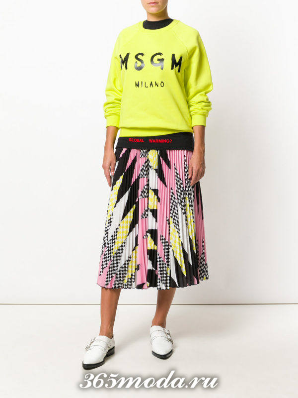 шифоновая юбка плиссе с геометрическим принтом
