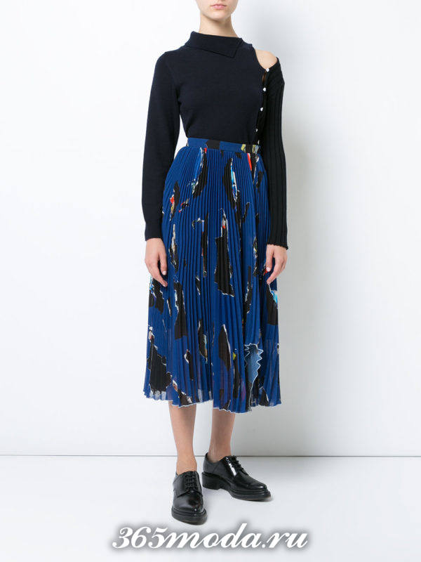 синяя шифоновая юбка плиссе с принтом
