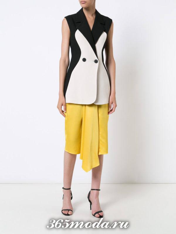 юбка плиссе миди асимметричная желтая