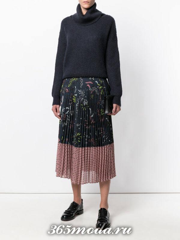 цветная шифоновая юбка плиссе с принтом