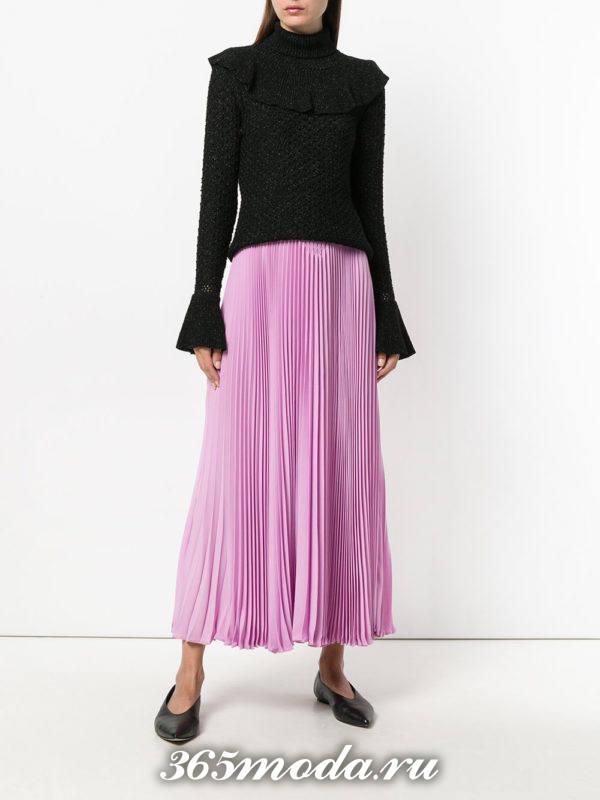 сиреневая длинная шифоновая юбка плиссе