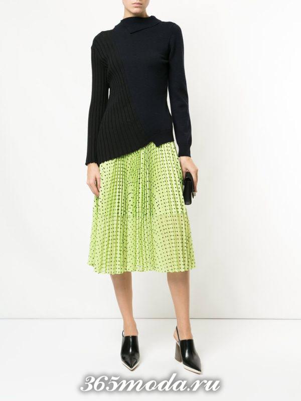 желтая шифоновая юбка плиссе с принтом