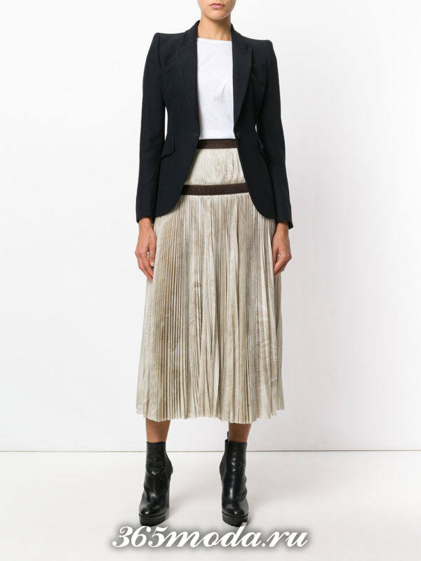 светлая шифоновая юбка плиссе с поясом