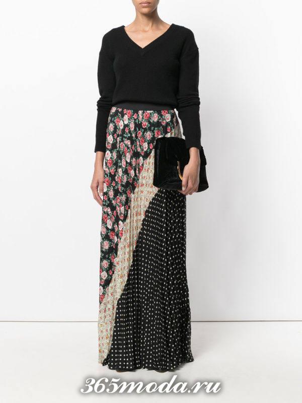 длинная шифоновая юбка плиссе комбинированная
