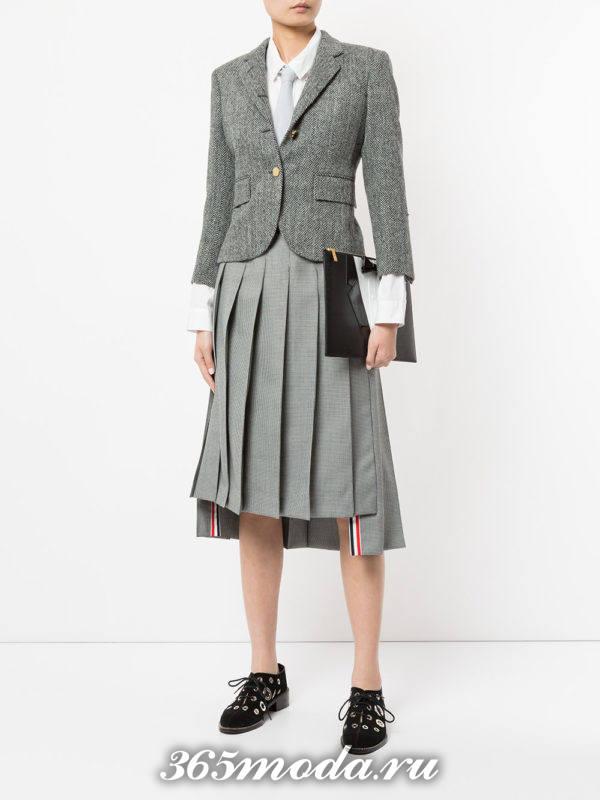 серая асимметричная теплая юбка плиссе