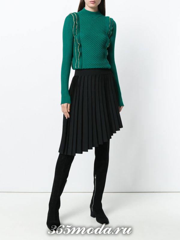 теплая темная асимметричная юбка плиссе