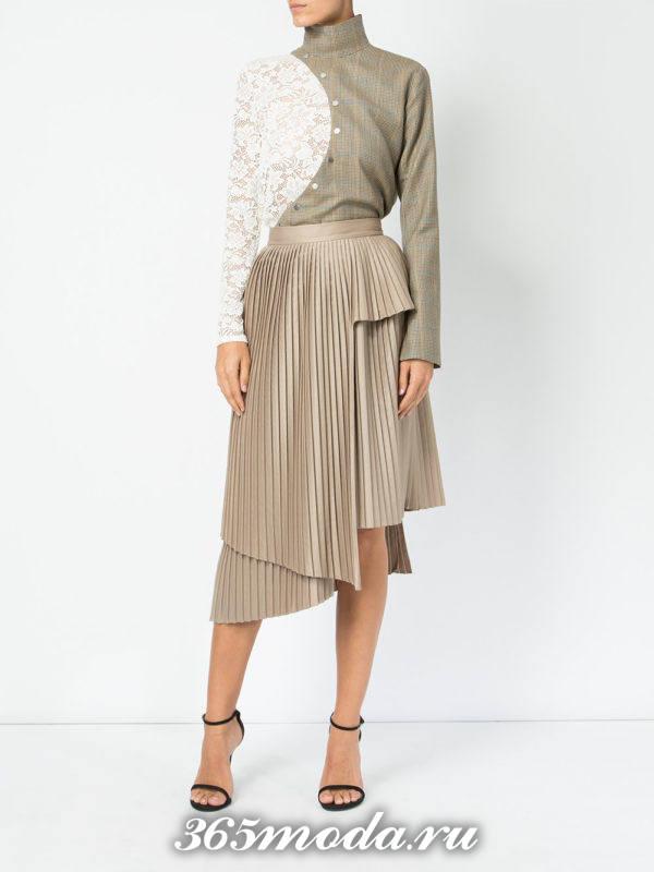 теплая асимметричная бежевая юбка плиссе
