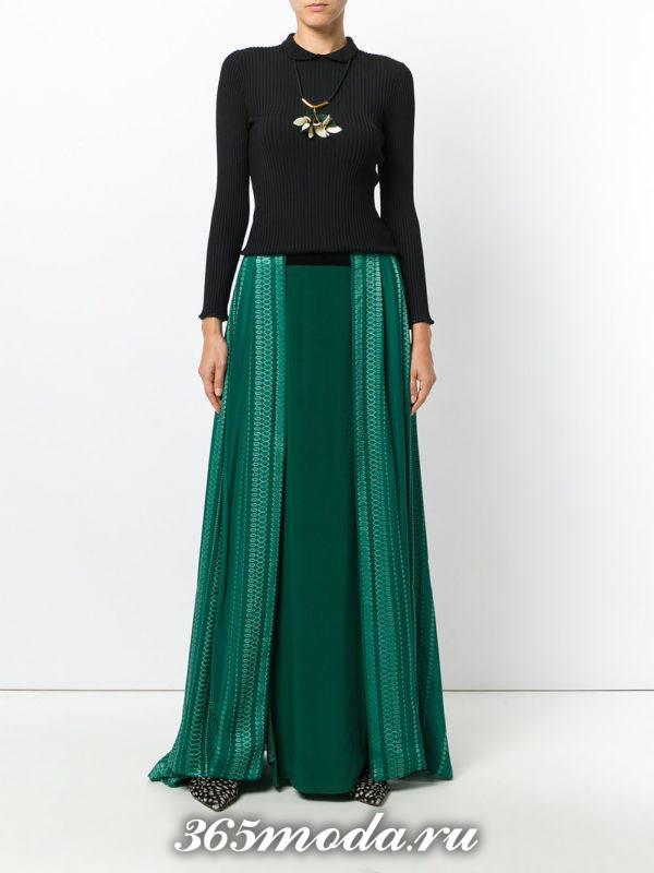 зеленая теплая длинная юбка плиссе