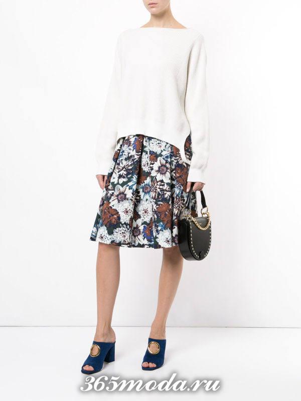 теплая юбка плиссе с цветочным принтом