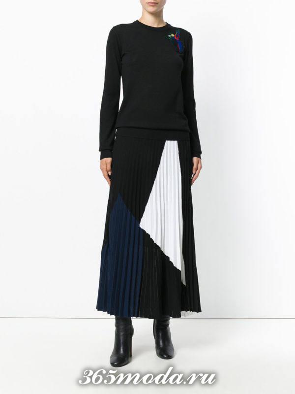 длинная теплая юбка плиссе с вставками