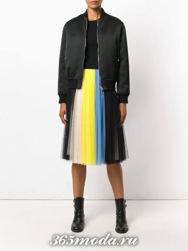 разноцветная юбка плиссе