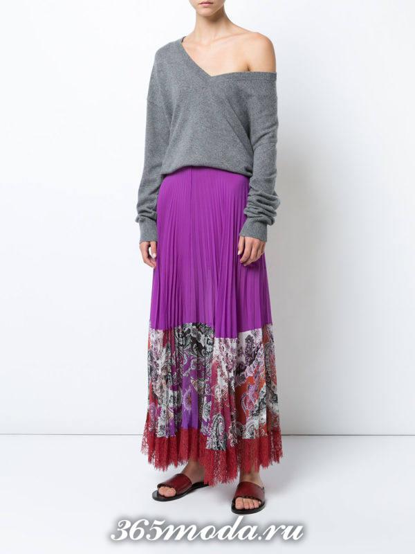 фиолетовая длинная юбка плиссе с принтом