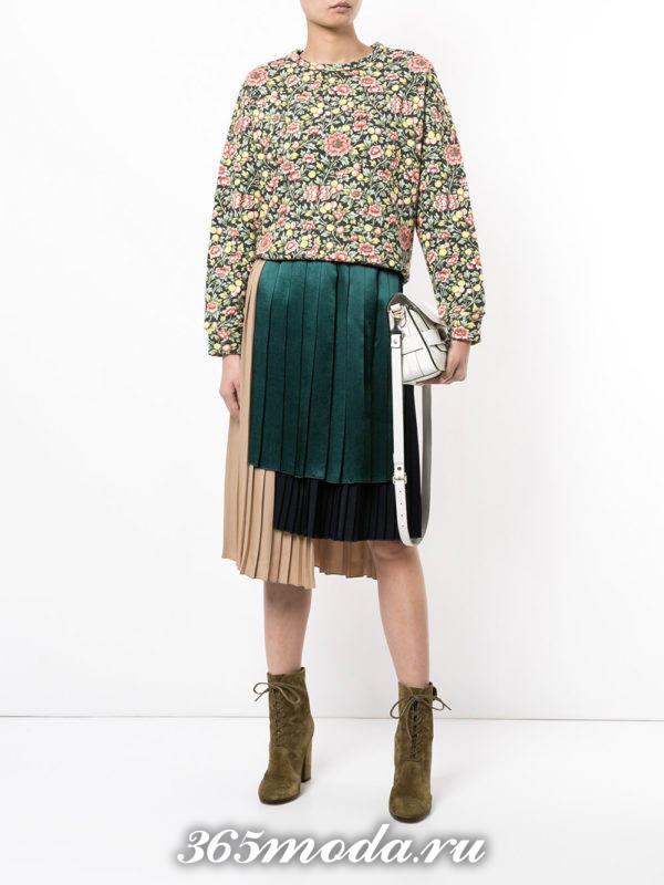 юбка плиссе миди разноцветная