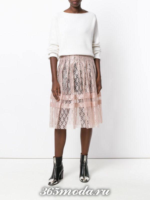 кружевная розовая юбка плиссе