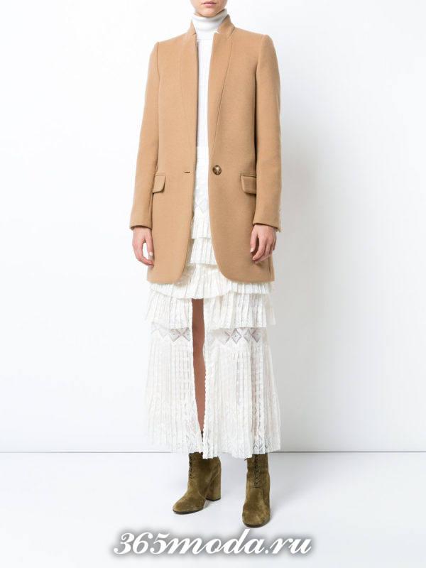 белая длинная юбка плиссе