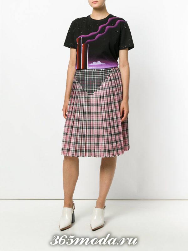 юбка плиссе для полных в клеточку