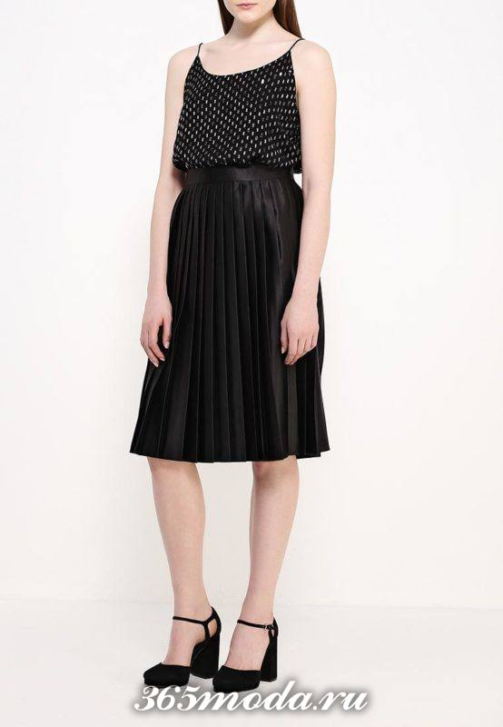 черная юбка плиссе для полных