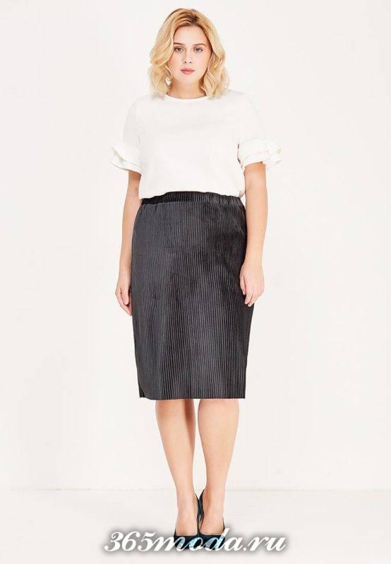 темная юбка плиссе карандаш для полных