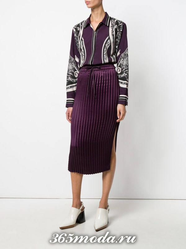 юбка плиссе миди фиолетовая с разрезом