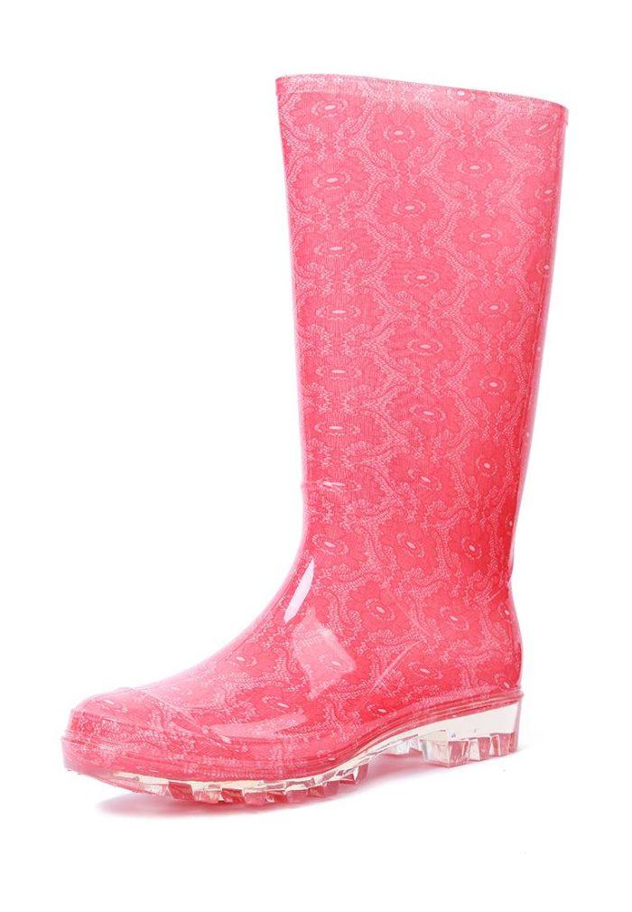 резиновые розовые сапоги с принтом весна