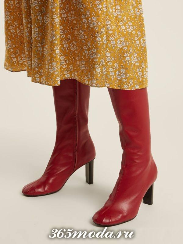 красные кожаные сапоги на шпильке весна