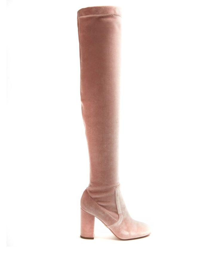 бархатные розовые сапоги-чулки на толстом каблуке весна