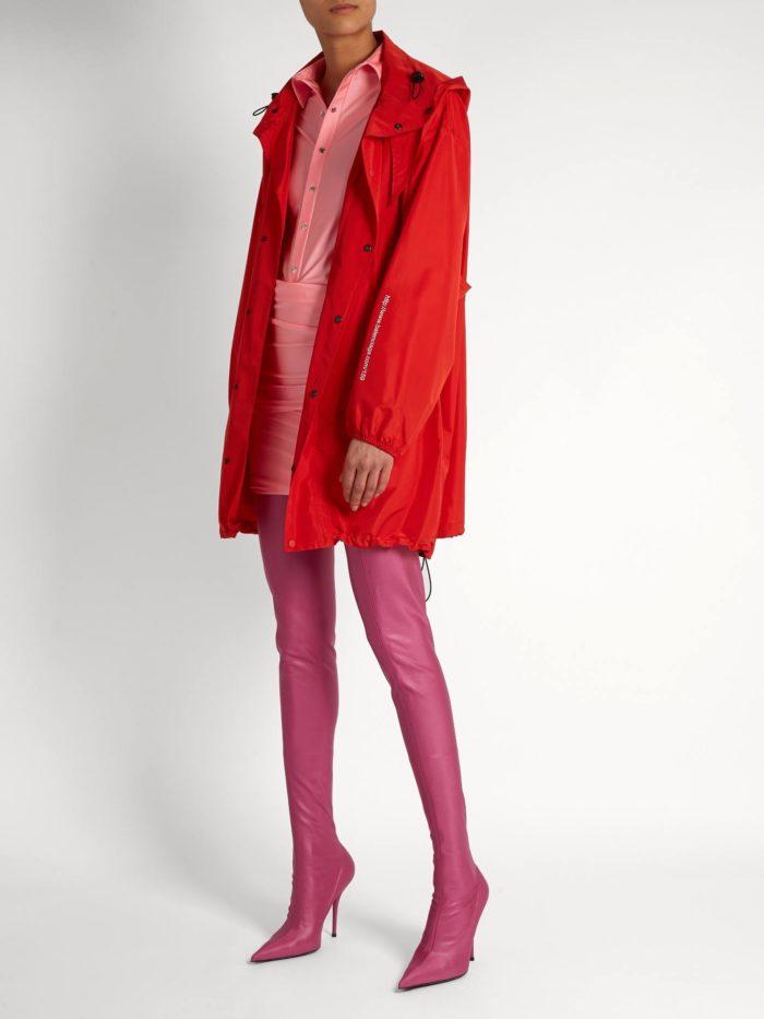 розовые кожаные сапоги-чулки весна