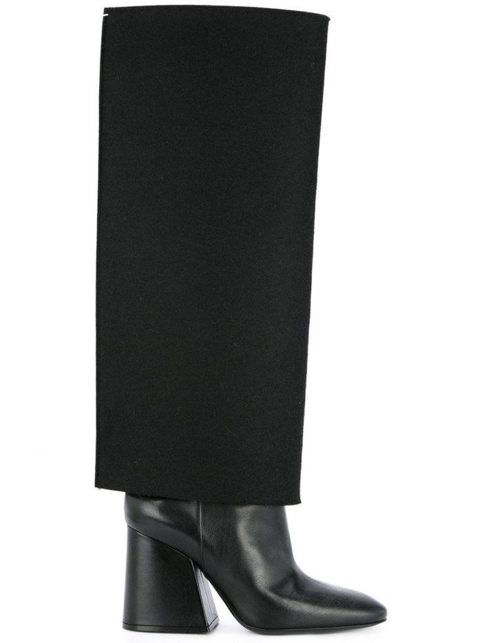 черные сапоги с отворотом на толстых каблуках женские весна