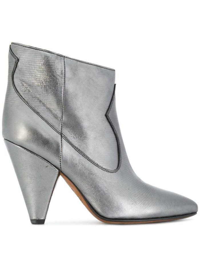 серебристые ботинки на каблуках женские весна