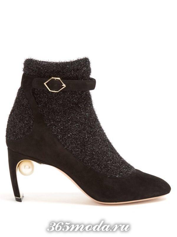 ботинки комбинированные на шпильке женские весна