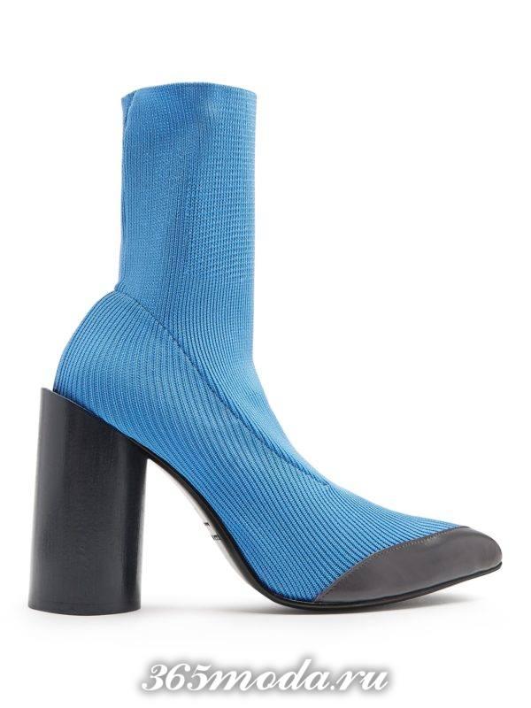 полусапоги голубые на толстом каблуке женские весна