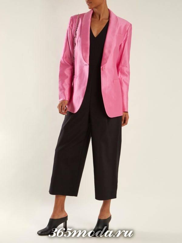 образ с розовым пиджаком и брюками кюлотами весна