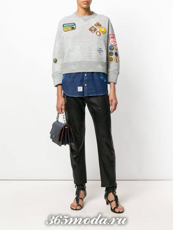 образ с укороченным свитшотом с кожаными брюками весна