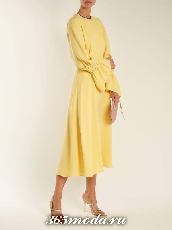 образ с желтым платьем миди весна