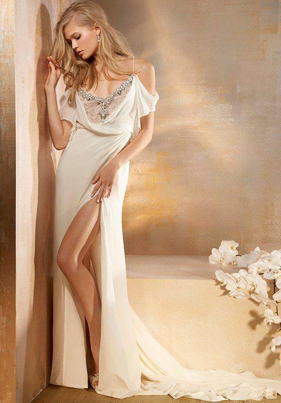 свадебное платье белое с разрезом