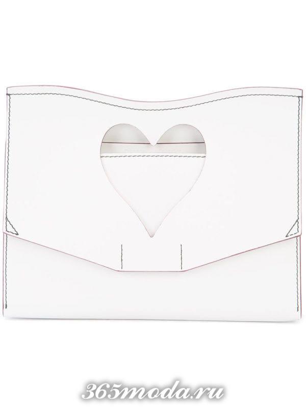 свадебная сумка белая с перфорацией