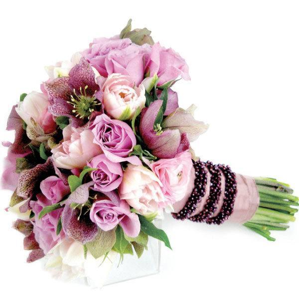свадебный букет из фиолетовых роз