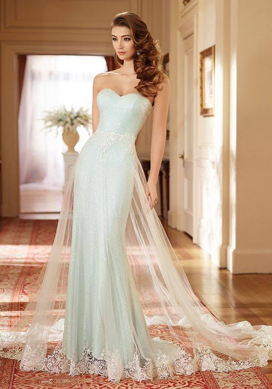 свадебное платье бюстье русалка голубое