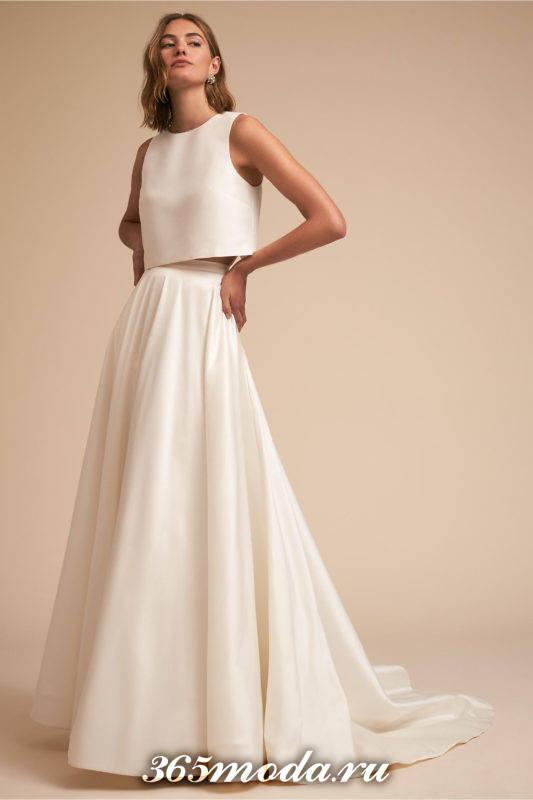 свадебное платье с отдельным топом со шлейфом